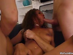 Then, they give September something she`s never felt before -- two big, hard white cocks up her beautiful ebony pussy! If that wasn`t enough, the crew pull off the almost-impossible sex act ever, and one you`ve never seen before: all three white dicks str